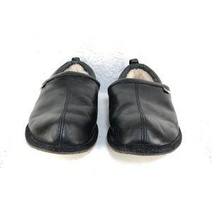 6b40c44b6bb B49 UGG Sheldon Mens Sz 12 Black Leather Slippers